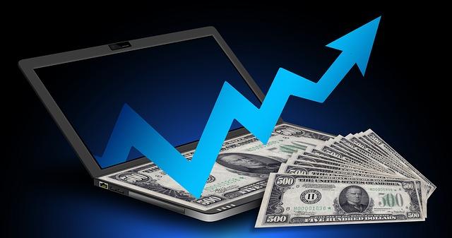 finanční růst, počítač, bankovky